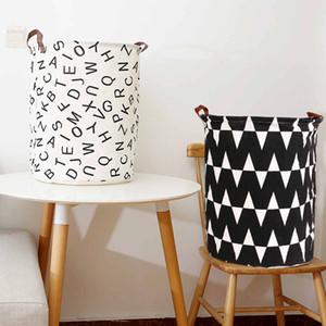 Folding Laundry Basket Round Storage Bin Bag Large Hamper Collapsible Clothes Toy Basket Bucket Organizer Large Capacity