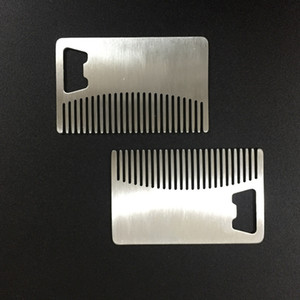 Professional Card style Men's mustache comb Beer openers Anti Static Stainless Steel Comb Bottle Opener GWA1926