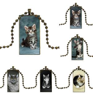Pet Maine Coon Cat Silver For Woman Vintage Statement Design Fashion Vintage Glass Women Rectangle Necklace Pendants