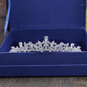 Slbridal Wunderschöne Zirkon Hochzeit Tiara CZ Brautstirnband Königin Prinzessin Pageant Party Crown Brautjungfern Frauen Schmuck1