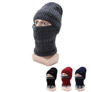 2020 yeni 2 adet Kış Beanie Hat Eşarp Seti İçin Kadın ve Erkekler Sıcak Isınma Bere Kalın Fleece Çizgili Kış Şapka Eşarp Erkek Kafatası Cap