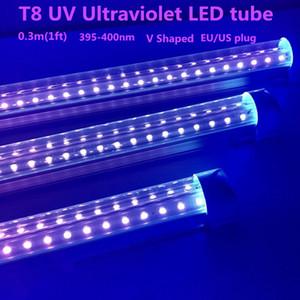 UV LED Blacklight Интегрировать T8 V образный LED трубки УФ 395-400nm 1ft светов пробки Blub лампы ультрафиолетового обеззараживания Germ