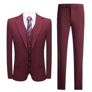 Wedding Tuxedos Burgundy Men's Foreign Trade New Korean Fashion Slim Suit Men's Business Wedding Bridegroom's Three Piece Suit