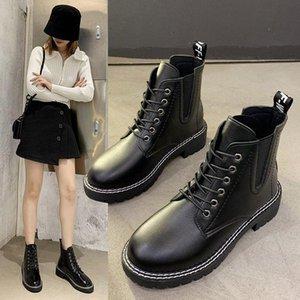 LYXLYH Donne piani della piattaforma Stivaletti Primavera stivale nero stringati neri medie Creepers moda scarpe partito Calzature