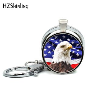 Новая мода цепи ручной работы Классический белоголовый орлан Американский флаг Стеклянный купол кольцо для ключей Брелки