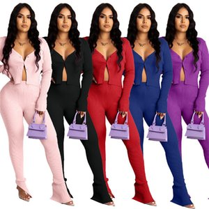 Women solid color Sweatsuit jacket 2 piece set long sleeve cardigan+leggings sexy jogger suit fall winter clothes casual Outfits