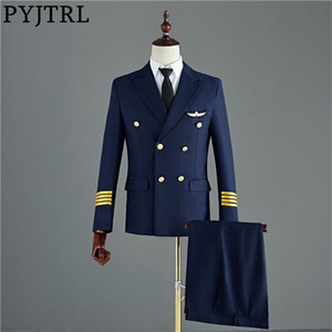 PYJTRL Navy Blue Black Mens Two-piece Captain Suits Jacket And Pants Men Groom Wedding Slim Fit Suit Party Costume Homme Tuxedo C1007