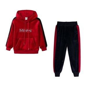 Wasailong Golden Velvet Vestito per Girls Autunno / Inverno Nuova moda Adatto a due pezzi Abito sportivo a due pezzi per bambini Y200831