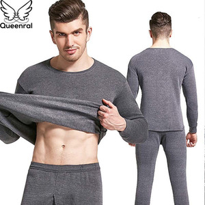 Queenral Grosso Thermo Roupa Quente Long Johns térmica Outono Inverno Plus Size M-4XL