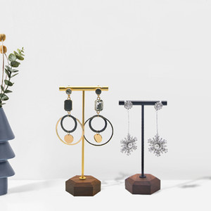 Jewelry Earring Display T Bar Stand Solid Wood Base Jewellery Stud Earrings Hanger for Boutique Counter Showcase Shelf Jewellery Fair
