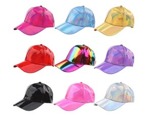 PU pure color light version laser baseball cap shade outdoor sun hat stage colorful hat 2020