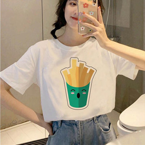French fries hamburger Women T shirt 90s Aesthetic Tshirt Vintage Harajuku T shirt Female Korean Style Fashion Girl Tops Tees