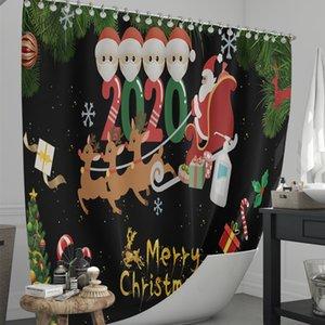 방수 샤워 커튼 소프트 미끄럼 방지 카펫 매트 홈 인테리어 파티션 커튼 목욕 커튼 E103105 커튼 크리스마스 욕실