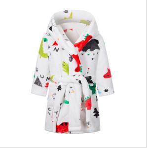 Bambini Pigiama Accappatoio Cartoon Fleece Fleece Notte Robe Flanella Plaid Stampato Night Robe Girls Boys Soft Warm Night-Robe Notte Forniture Design Sea GWC5182