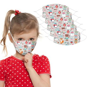 30 5 Pcs Childrens Funny Christmas Party Mask Printed Cotton Fabric Breathing Washed And Reused Face Mask For Boys And Girls yxlbGs
