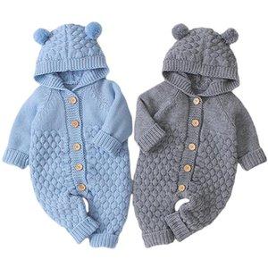 2021 novo moda outono inverno bebê macacão orelhas bonitos com capuz kitwear infantil menina menino jumpsuit crianças roupas de bebê roupas 0-2y
