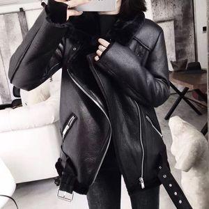 Ailegogo 2020 Winter Coats Women Thick Faux Leather Fur Sheepskin Coat Female Fur Leather Jacket Aviator Jacket Casaco Feminino T201102
