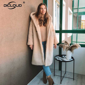 Женский меховой FUX модный 2021 зима с капюшоном куртка с капюшоном пальто женщин плюс размер негабаритные свободные пальто толщины густые теплые длинные куртки пальто