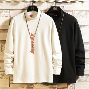 2020 Autumn Spring Fashion Oversize Classic White Black Tshirt Men's Long Sleeve Casual O Neck T-Shirt For Man TOP TEES kg-65