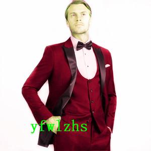 Classic One Button Handsome Groomsmen Peak Lapel Groom Tuxedos Men Suits Wedding Prom Best Man Blazer ( Jacket+Pants+Vest+Tie) W591