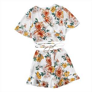 JAYCOSIN Women Set Clothes Floral Print Two Piece Set Bandage O Neck Blouse Top Shorts Pants Summer Beach Ladies Matching Sets