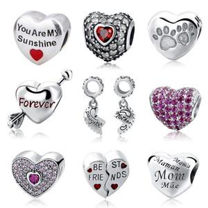 Autre Strollgirl Fit bricolage Bracelets Européens 925 Sterling Silver Silver Hearts Forme Perles de forme avec couleur Clear Cz bijoux pour cadeau1