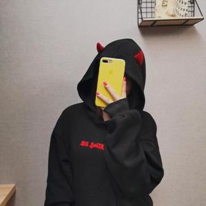 Autumn Black Hoodie Sweatshirt Women Harajuku Devil Wing Hoodies Sweatshirt Female Casual Streetwear Pullovers Cosplay Fleece