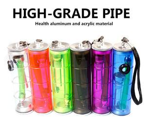 7 '' shisha pipa de agua de tubos pequeños tubos de aleación de metal de acrílico de aluminio Tubo de tabaco accesorios portátiles fumadores longitud de 185 mm por mayor