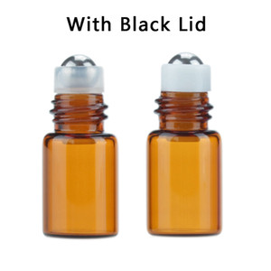 1 2 3ml Amber Glass Roll On Bottle Clear Essential Oil Empty Bottles Aromatherapy Perfume Bottle + Metal Roller Ball + Plastic Lid BC BH4201