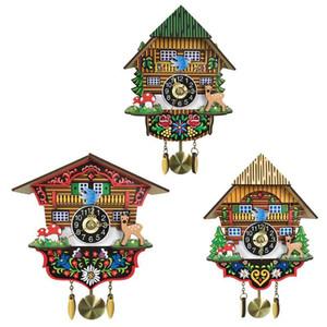 3D Cartoon Cuckoo Wooden Hanging Swing Wall Clock for Kids Living Room Home Restaurant Bedroom Decoration
