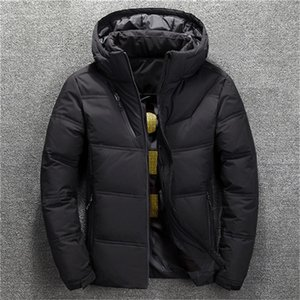 Designer inverno giù Mens Plus Size solido di colore Spesso risvolto del collo con cappuccio cappotti caldi casual da uomo Piumini