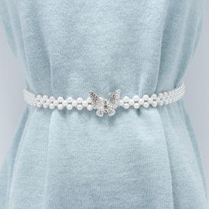 Women's wild fashion pearl inlaid rhinestone flowers waist chain hot sale dress decoration belt female