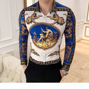 Camisa Masculina Long Sleeve Shirt Man Four Golden Leopard Print Slim Fit Casual Shirts Summer New Mens Club Social Top