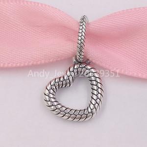 Аутентичные 925 серебряные шарики Pandora Snake Chain Pattern открытом сердце подвеска Подвески Подходит Европейский Pandora Стиль ювелирных изделий Браслеты Ne