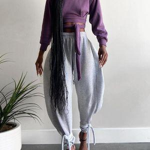 SheBlingBling Harem de las mujeres elegantes pantalones del cordón del dobladillo de los pantalones bombachos alta cintura elástico ocasional de la altura del tobillo de gran tamaño
