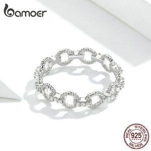 HQ Simple Chain Pettern Finger Rings for Women Openwork Stackable Rings S925 Silver Fashion Best Love Jewelry Christmas New Year Gift Making