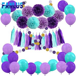 55pcs Set Artificial Paper Flower Pompoms Decor Birthday Latex Balloons Decoration Mermaid Party Baby Shower Boy Girl Favors 201017
