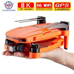 Yeni 8 K Drone 4 K GPS Çift Konumlandırma Üç Kamera 5G WiFi İki Eksenli PTZ Kamera Fırçasız Motor Desteği TF Kart RC Mesafe 1.2Km 201031