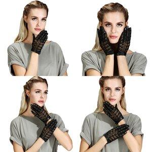 Réel à court Design en peau de mouton Mode féminine dentelle papillon Gants en cuir véritable mitaines 9FH5