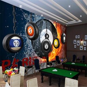 Retro Nostalgic Fitness Billiard Hanging Wheel Sport Background 3D Wallpaper Billiards Room Industrial Decor Mural Wall Paper 3D