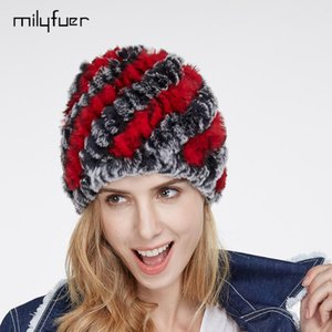 Milyfuer Real Rex Fur Hats Female Hair Fashion Fur Caps Autumn Winter Keep Warm Ear Cycling Cap Knitted Hat For Women Cap
