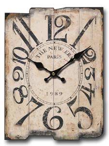 Large Square Wall Clock Retro Wood Creative Vintage Clocks Wall Home Decor Shabby Chic Silent Watch Orologio Da Parete D0791