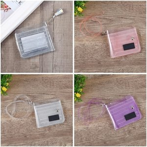 Transparents Flashing Business Cards Holder Tassels Hanging Rope Storage Bags Snap Button Exquisite Multi Card holder 8 5gy G2