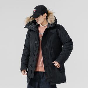 Haute Qualité Canada Hommes Parka homme plume hiver Overcoet style intemporel Veste col amovible vers le bas Fourrure véritable chaud Doudoune