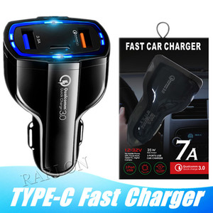 2020 New QC3.0 Quick Charger Adaptive 3 Port USB Fast Car Charger With Type c Port for Samsung S10 S20 Note 20 Goophone Huawei