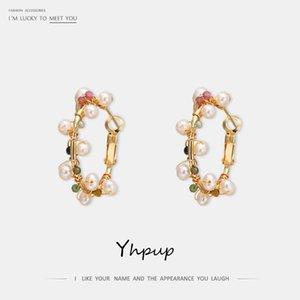 Yhpup العصرية Exqusite الحجر الطبيعي الطبيعية اللؤلؤ أقراط هوب فائق عالي الجودة النحاس أقراط صديق النساء هدية الزفاف