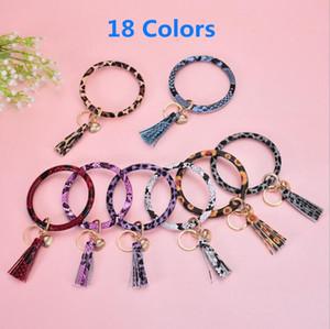 18 Colors Leather Tassel Keychain Bracelet Bangle Key Holder Key Chain Ring Leather Wrap Sunflower Key Ring Bangle Chains Wristlet EEC2730