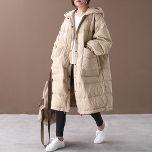 2020 New Loose Down Coat Cloak Lantern Sleeves Hooded Warm Long Down Parkas 90% White Duck Jacket Female Snow Outwear