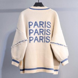 알파벳 플러스 사이즈 긴 카디건 문자 English Cardigan 패션 스웨터 두꺼운 느슨한 코트 한국어 2021 여성 니트 Thhug