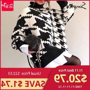 Simplee gola mulheres de inverno malha outono Houndstooth longo pullover Femlae Moda quentes pretas Branca camisola